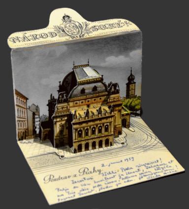 Praha, Národní divadlo pop-up postcard